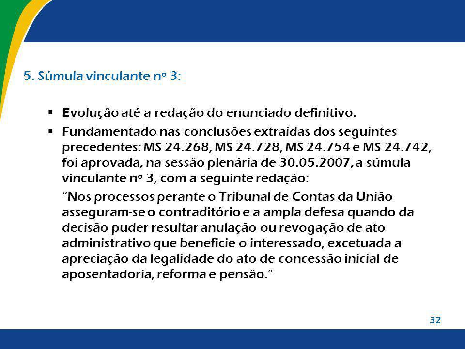 32 5. Súmula vinculante nº 3: Evolução até a redação do enunciado definitivo. Fundamentado nas conclusões extraídas dos seguintes precedentes: MS 24.2