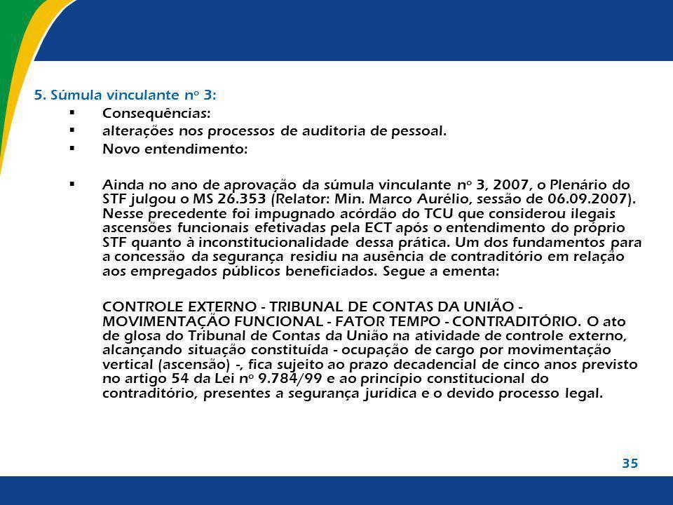 35 5. Súmula vinculante nº 3: Consequências: alterações nos processos de auditoria de pessoal. Novo entendimento: Ainda no ano de aprovação da súmula