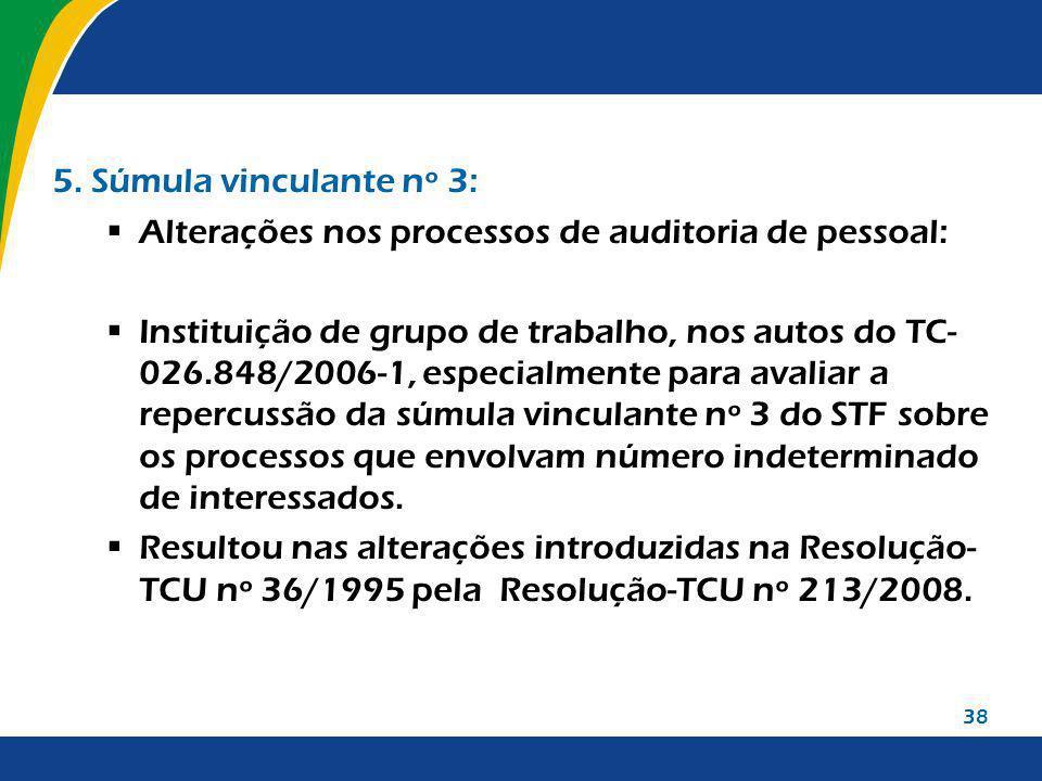 38 5. Súmula vinculante nº 3: Alterações nos processos de auditoria de pessoal: Instituição de grupo de trabalho, nos autos do TC- 026.848/2006-1, esp