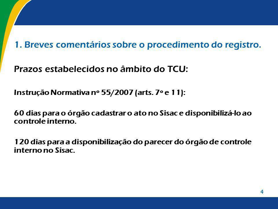 4 1. Breves comentários sobre o procedimento do registro. Prazos estabelecidos no âmbito do TCU: Instrução Normativa nº 55/2007 (arts. 7º e 11): 60 di