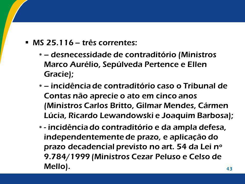 43 MS 25.116 – três correntes: – desnecessidade de contraditório (Ministros Marco Aurélio, Sepúlveda Pertence e Ellen Gracie); – incidência de contrad