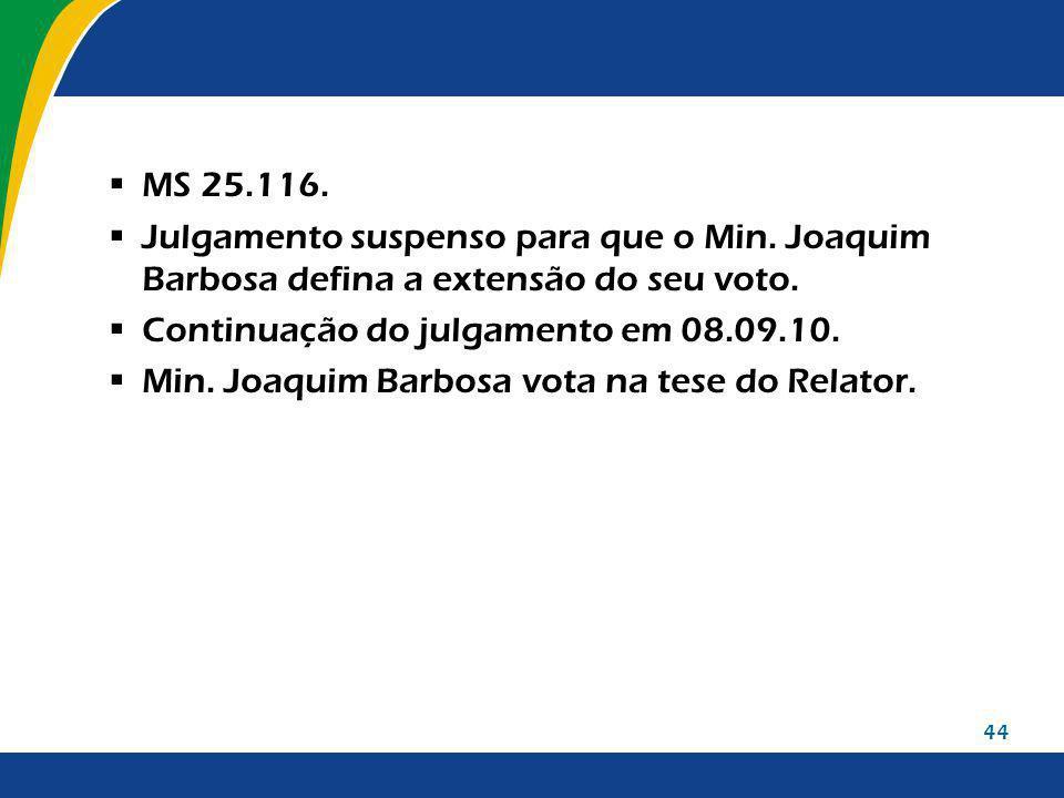 44 MS 25.116. Julgamento suspenso para que o Min. Joaquim Barbosa defina a extensão do seu voto. Continuação do julgamento em 08.09.10. Min. Joaquim B