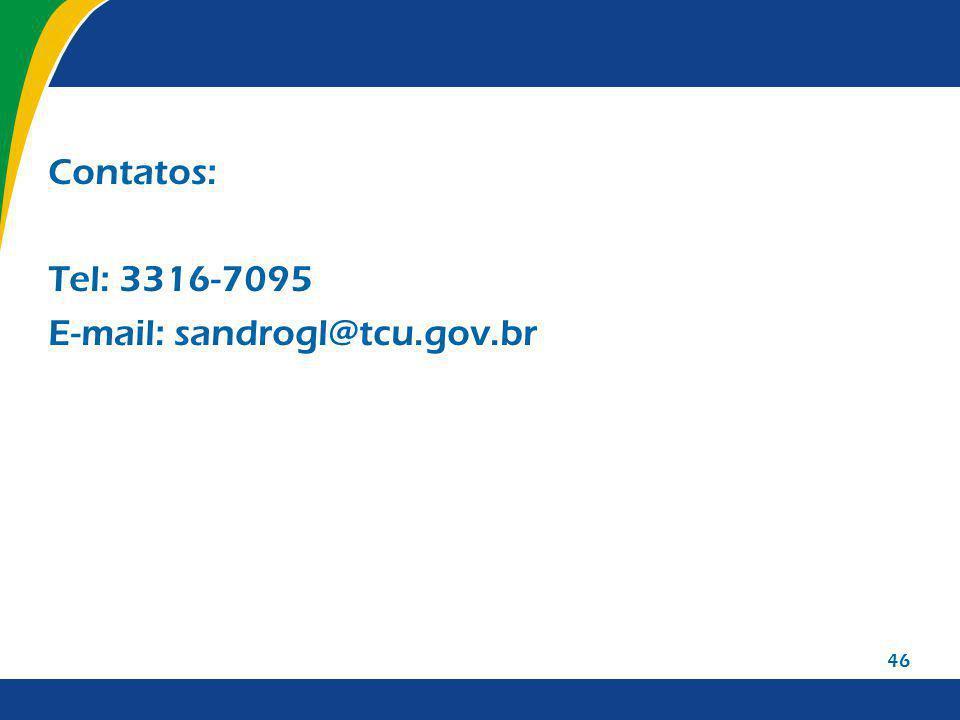 46 Contatos: Tel: 3316-7095 E-mail: sandrogl@tcu.gov.br