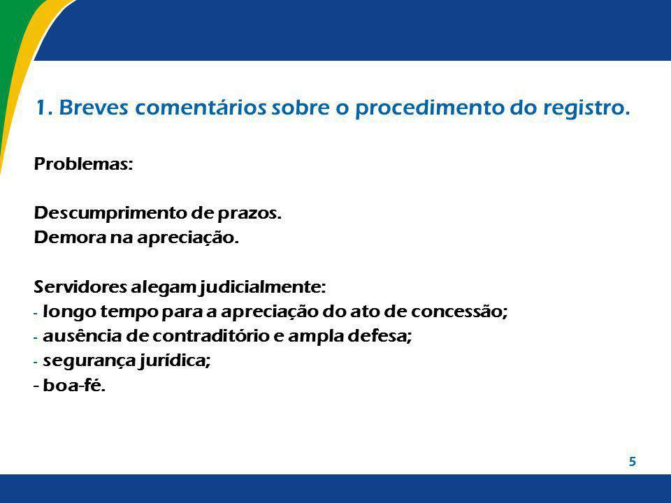 5 1.Breves comentários sobre o procedimento do registro.