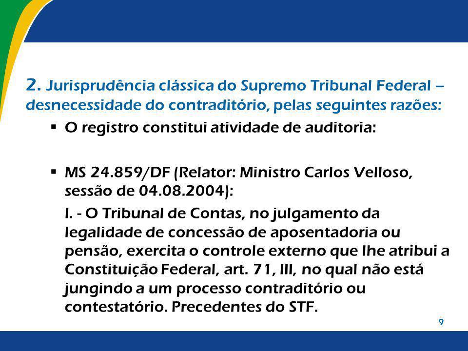 9 2. Jurisprudência clássica do Supremo Tribunal Federal – desnecessidade do contraditório, pelas seguintes razões: O registro constitui atividade de