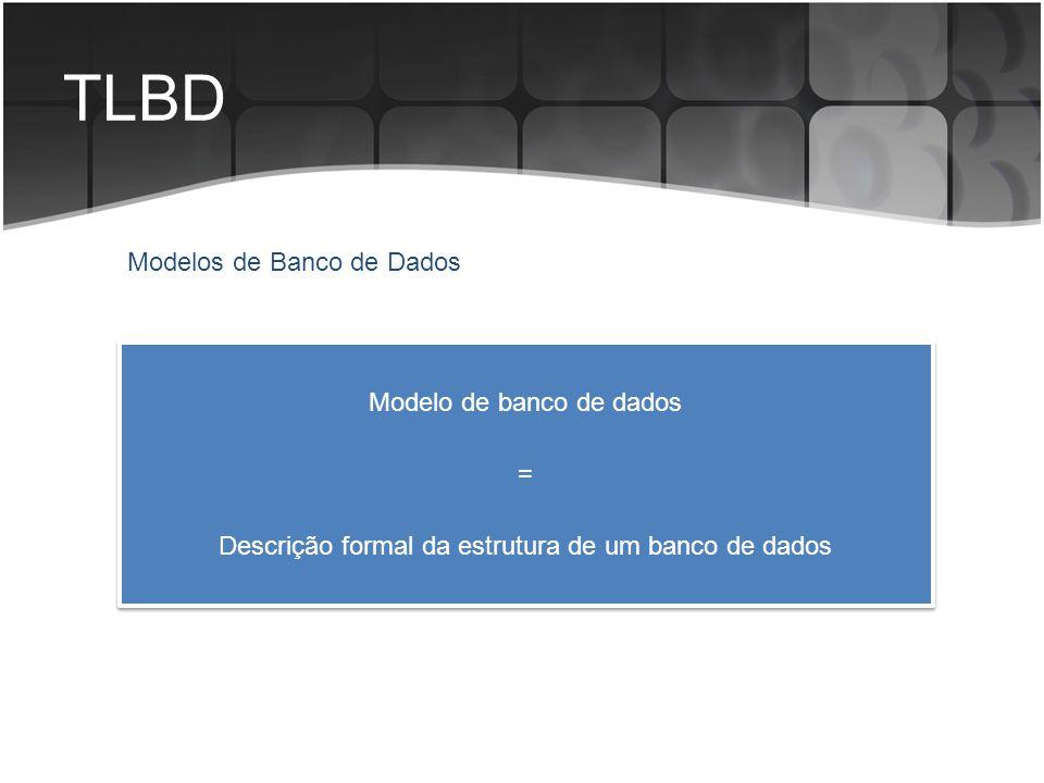 TLBD Modelos de Banco de Dados Modelo de banco de dados = Descrição formal da estrutura de um banco de dados Modelo de banco de dados = Descrição form