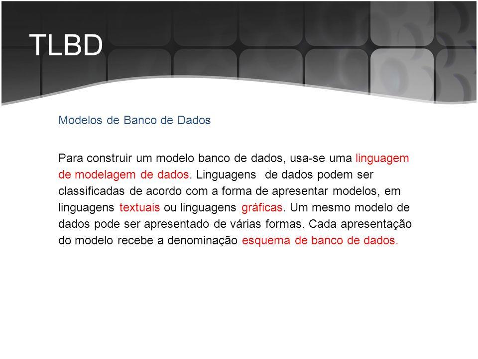 TLBD Para construir um modelo banco de dados, usa-se uma linguagem de modelagem de dados. Linguagens de dados podem ser classificadas de acordo com a