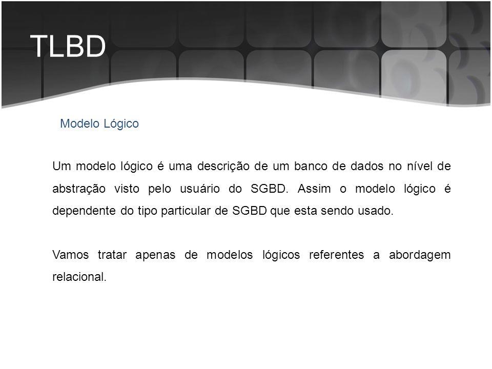 TLBD Um modelo lógico é uma descrição de um banco de dados no nível de abstração visto pelo usuário do SGBD. Assim o modelo lógico é dependente do tip