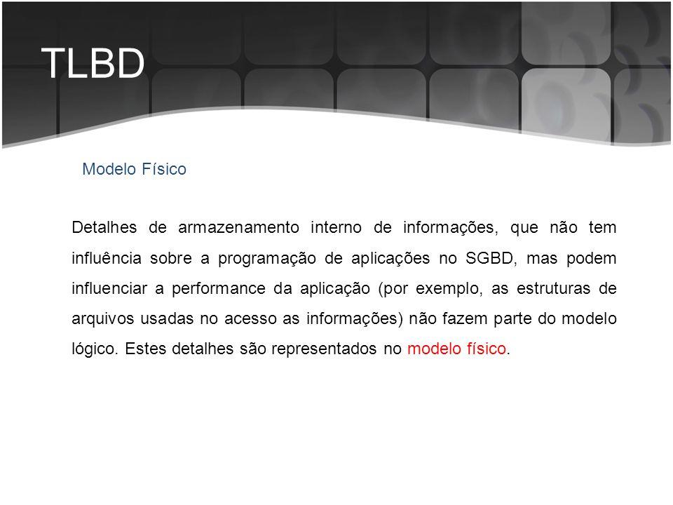 TLBD Detalhes de armazenamento interno de informações, que não tem influência sobre a programação de aplicações no SGBD, mas podem influenciar a perfo