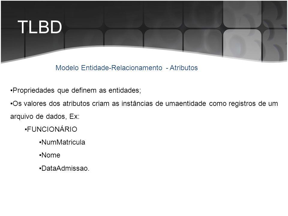 TLBD Propriedades que definem as entidades; Os valores dos atributos criam as instâncias de umaentidade como registros de um arquivo de dados, Ex: FUN
