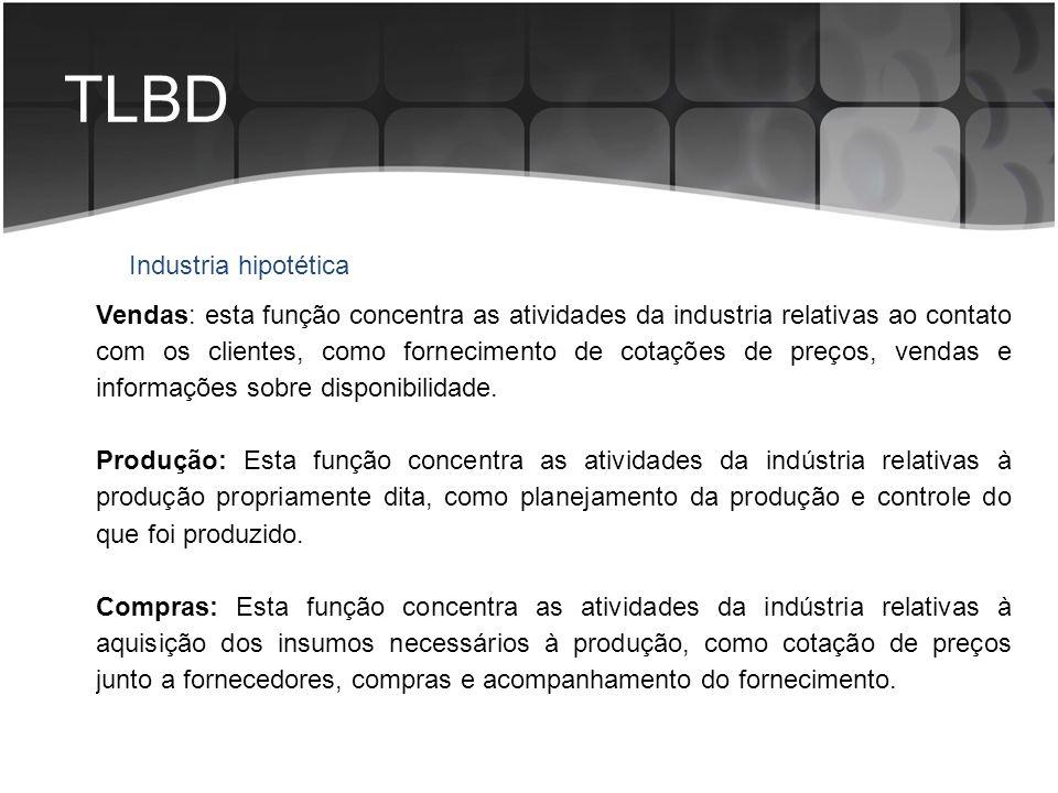 TLBD Industria hipotética Vendas: esta função concentra as atividades da industria relativas ao contato com os clientes, como fornecimento de cotações