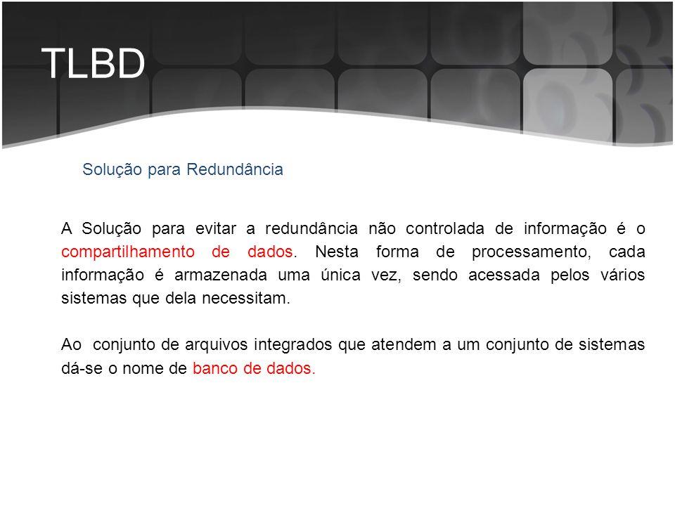 TLBD Solução para Redundância A Solução para evitar a redundância não controlada de informação é o compartilhamento de dados. Nesta forma de processam
