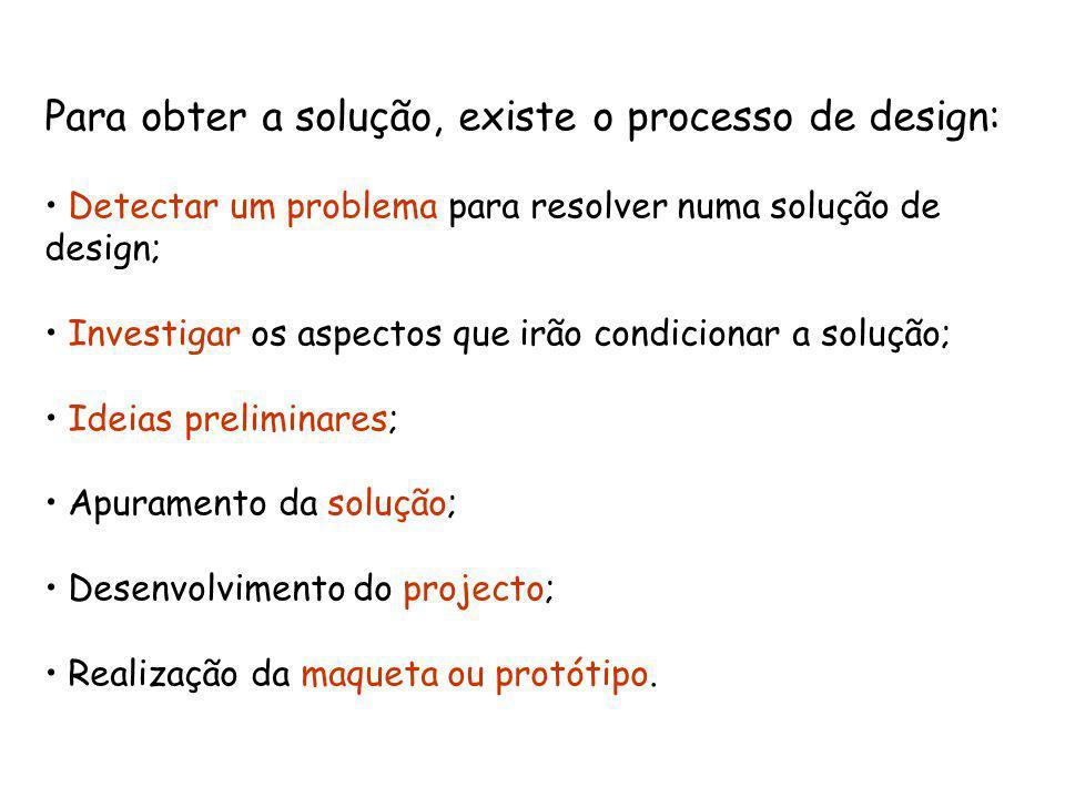 Para obter a solução, existe o processo de design: Detectar um problema para resolver numa solução de design; Investigar os aspectos que irão condicionar a solução; Ideias preliminares; Apuramento da solução; Desenvolvimento do projecto; Realização da maqueta ou protótipo.