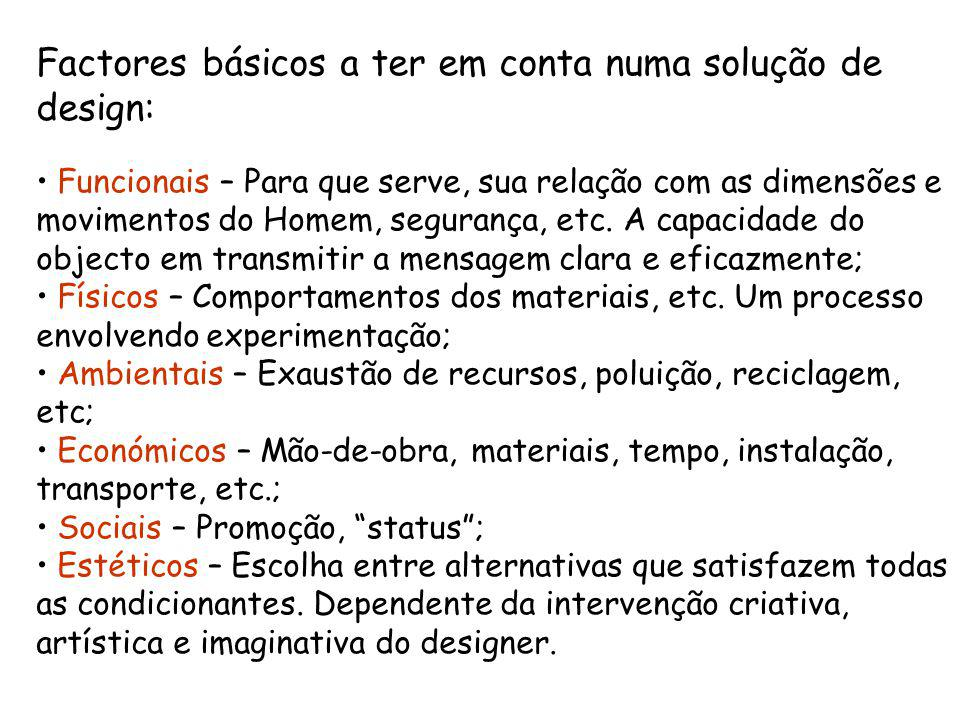 Factores básicos a ter em conta numa solução de design: Funcionais – Para que serve, sua relação com as dimensões e movimentos do Homem, segurança, etc.