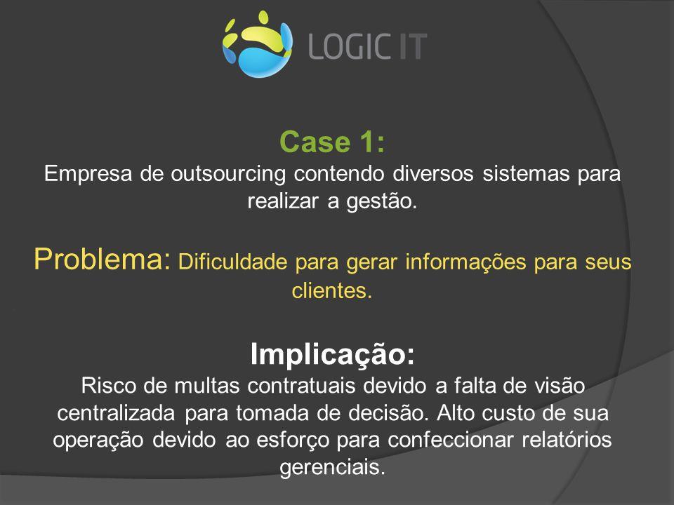 Case 1: Empresa de outsourcing contendo diversos sistemas para realizar a gestão. Problema: Dificuldade para gerar informações para seus clientes.. Im