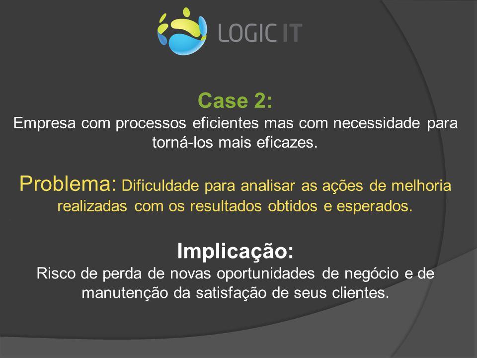 Case 2: Empresa com processos eficientes mas com necessidade para torná-los mais eficazes. Problema: Dificuldade para analisar as ações de melhoria re