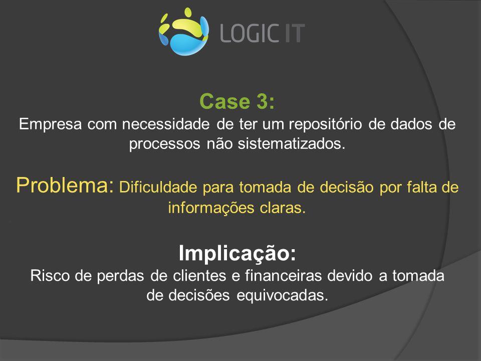 Case 3: Empresa com necessidade de ter um repositório de dados de processos não sistematizados. Problema: Dificuldade para tomada de decisão por falta