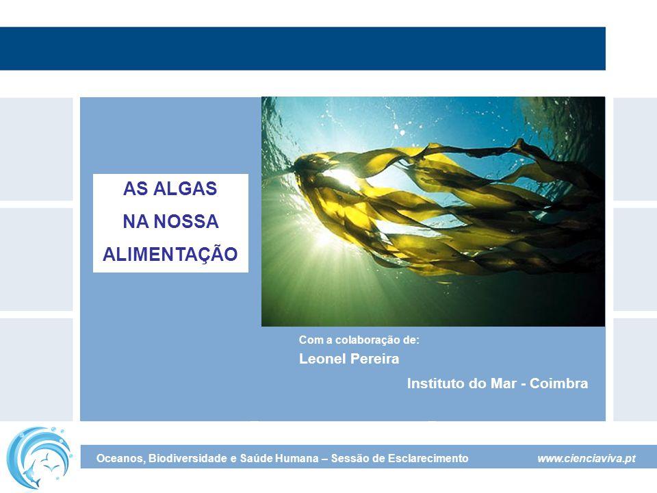 www.cienciaviva.pt Oceanos, Biodiversidade e Saúde Humana – Sessão de Esclarecimento Com a colaboração de: Leonel Pereira Instituto do Mar - Coimbra AS ALGAS NA NOSSA ALIMENTAÇÃO