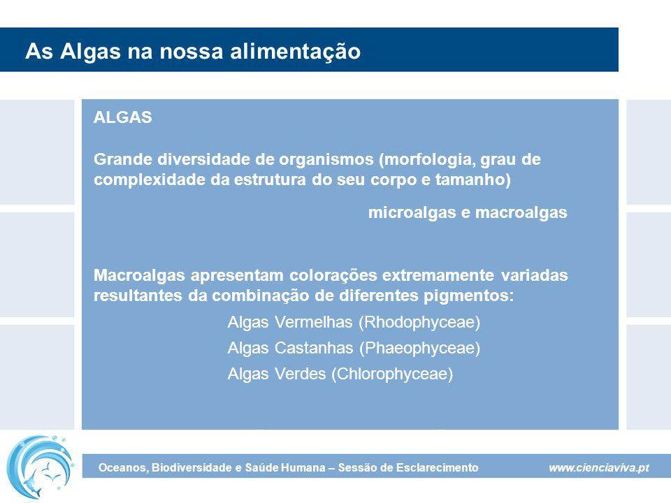 www.cienciaviva.pt Oceanos, Biodiversidade e Saúde Humana – Sessão de Esclarecimento As Algas na nossa alimentação ALGAS microalgas e macroalgas Grande diversidade de organismos (morfologia, grau de complexidade da estrutura do seu corpo e tamanho) Macroalgas apresentam colorações extremamente variadas resultantes da combinação de diferentes pigmentos: Algas Vermelhas (Rhodophyceae) Algas Castanhas (Phaeophyceae) Algas Verdes (Chlorophyceae)