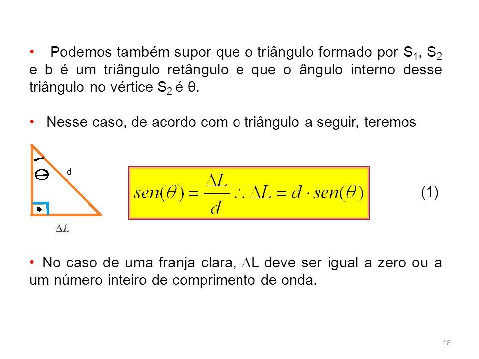 18 Podemos também supor que o triângulo formado por S 1, S 2 e b é um triângulo retângulo e que o ângulo interno desse triângulo no vértice S 2 é θ.