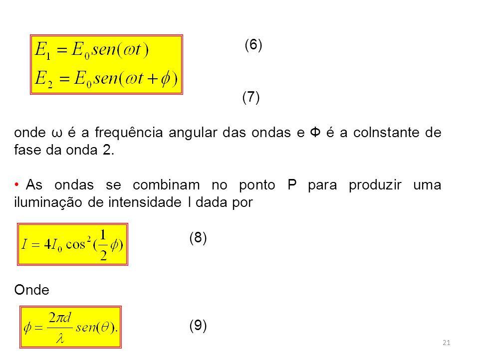 21 (6) (7) onde ω é a frequência angular das ondas e Ф é a colnstante de fase da onda 2.