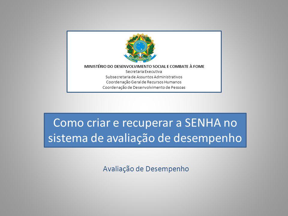 Avaliação de Desempenho MINISTÉRIO DO DESENVOLVIMENTO SOCIAL E COMBATE À FOME Secretaria Executiva Subsecretaria de Assuntos Administrativos Coordenaç