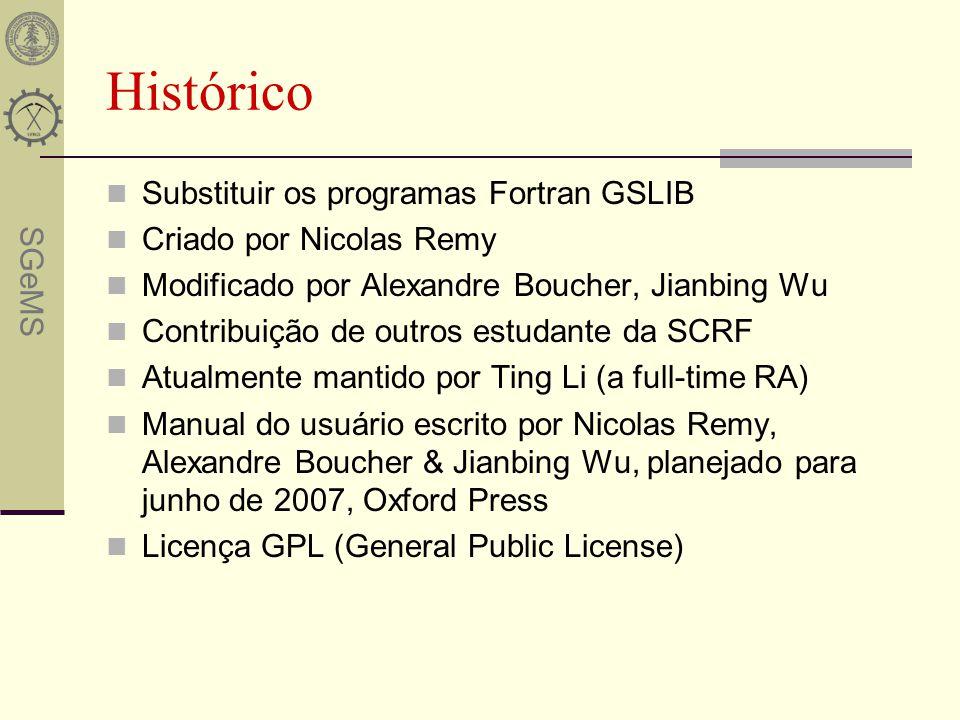 SGeMS Histórico Substituir os programas Fortran GSLIB Criado por Nicolas Remy Modificado por Alexandre Boucher, Jianbing Wu Contribuição de outros est