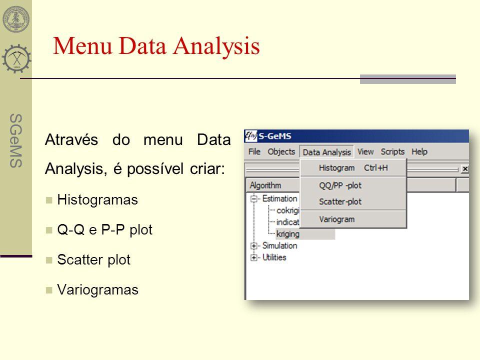 SGeMS Menu Data Analysis Através do menu Data Analysis, é possível criar: Histogramas Q-Q e P-P plot Scatter plot Variogramas