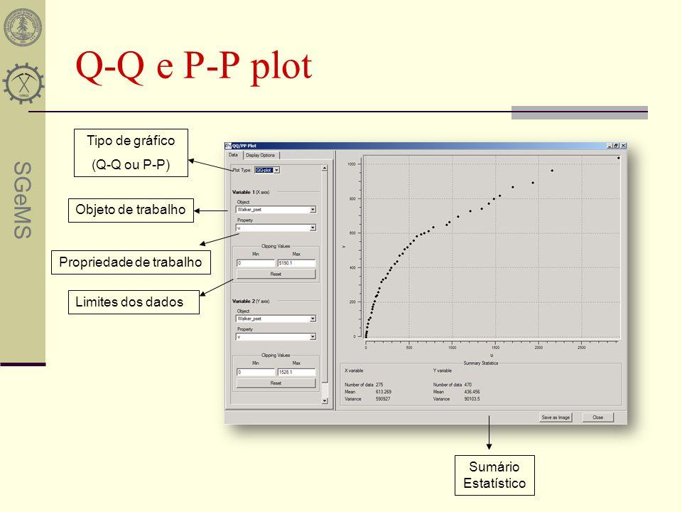 SGeMS Q-Q e P-P plot Sumário Estatístico Objeto de trabalho Propriedade de trabalho Tipo de gráfico (Q-Q ou P-P) Limites dos dados