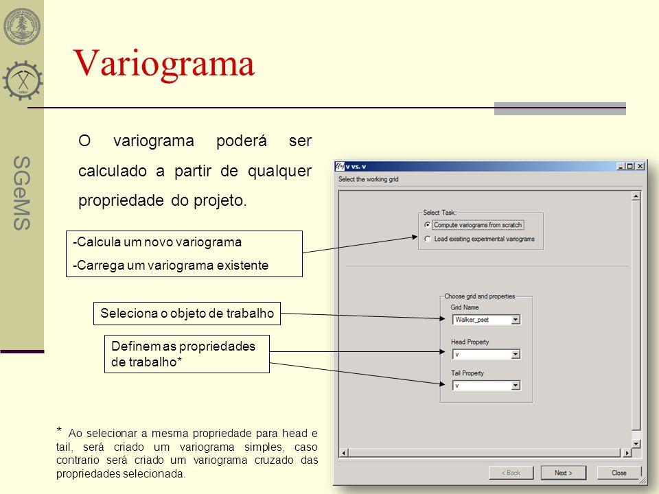 SGeMS Variograma O variograma poderá ser calculado a partir de qualquer propriedade do projeto. -Calcula um novo variograma -Carrega um variograma exi