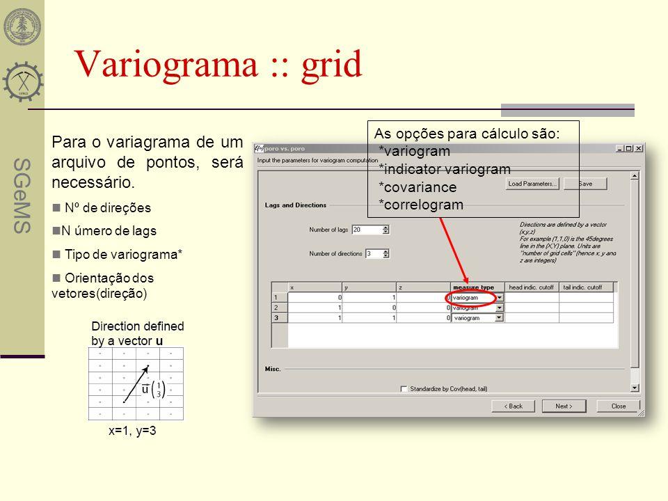SGeMS Variograma :: grid Para o variagrama de um arquivo de pontos, será necessário. Nº de direções N úmero de lags Tipo de variograma* Orientação dos