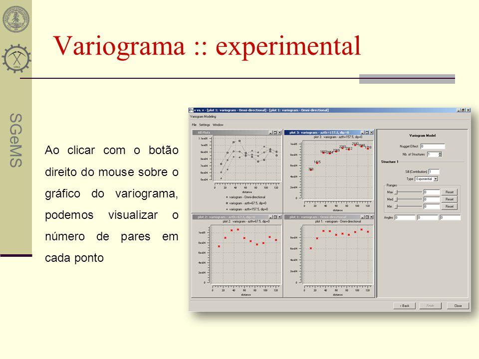 SGeMS Variograma :: experimental Ao clicar com o botão direito do mouse sobre o gráfico do variograma, podemos visualizar o número de pares em cada po