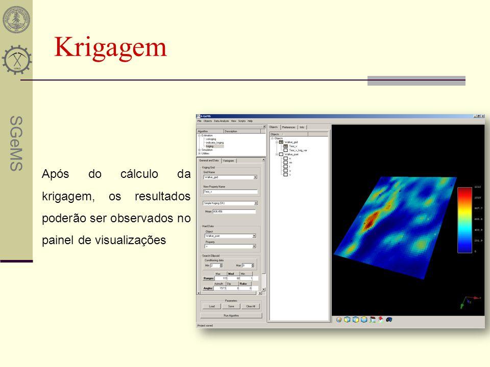 SGeMS Krigagem Após do cálculo da krigagem, os resultados poderão ser observados no painel de visualizações