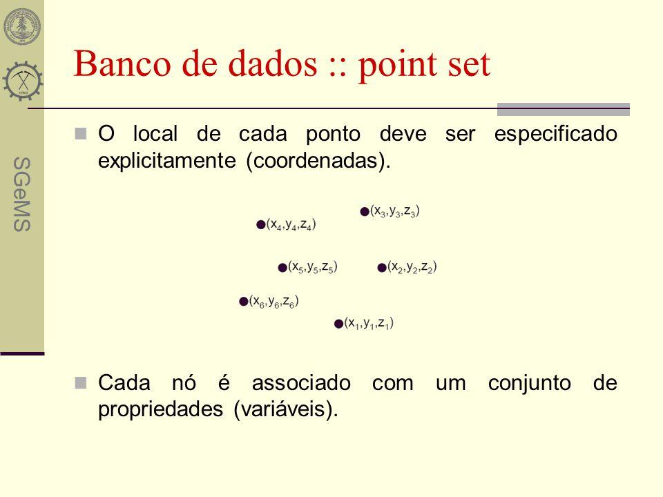 SGeMS Banco de dados :: point set O local de cada ponto deve ser especificado explicitamente (coordenadas). Cada nó é associado com um conjunto de pro