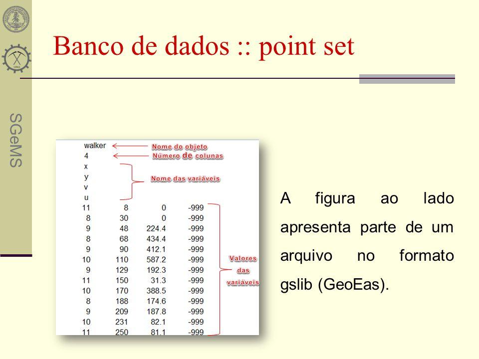SGeMS Banco de dados :: grid Um grid é caracterizado por: - sua origem (Ox,Oy,Oz) - o tamanho do bloco (xsize, ysize, zsize,) - o número de blocos (nx,ny,nz) As coordenadas são calculadas por: x = Ox + ix * xsize y = Oy + iy * ysize Z = Oz + iz * zsize O grid é ordenado pelo crescimento em X->Y->Z a partir da origem.