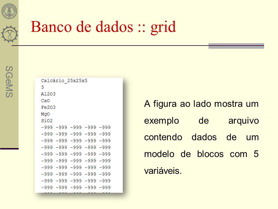 SGeMS Banco de dados :: grid A figura ao lado mostra um exemplo de arquivo contendo dados de um modelo de blocos com 5 variáveis.