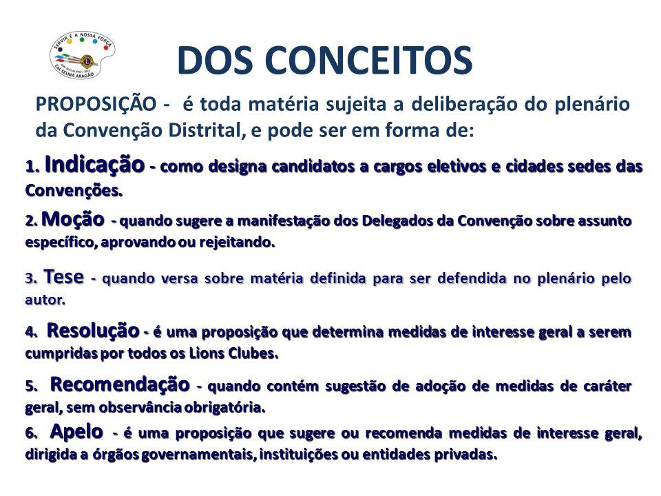 DOS CONCEITOS PROPOSIÇÃO - é toda matéria sujeita a deliberação do plenário da Convenção Distrital, e pode ser em forma de: 1. Indicação - como design