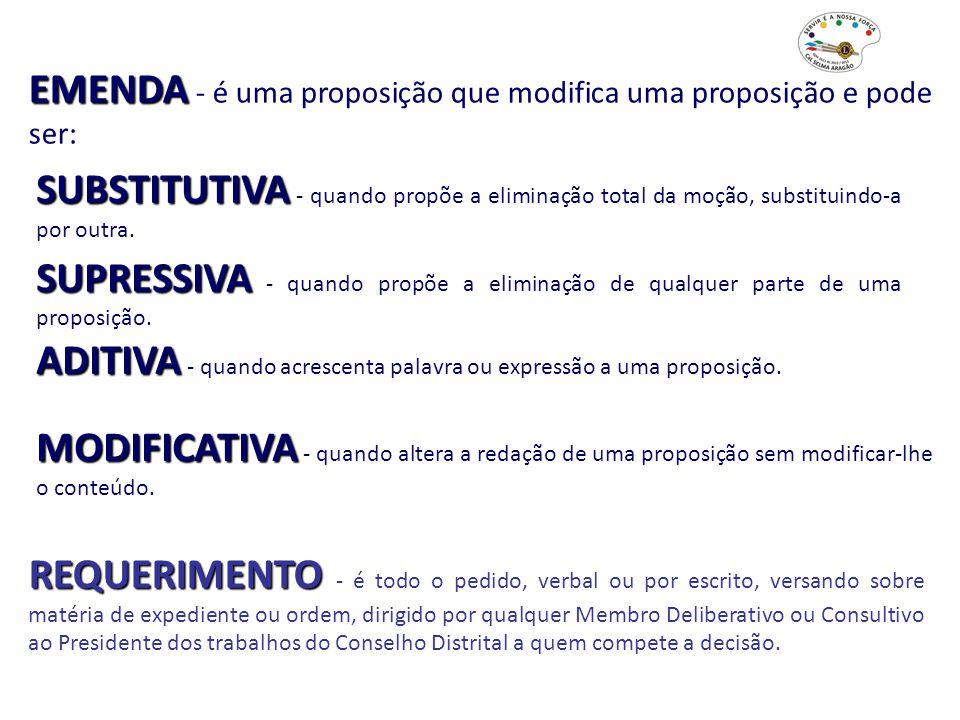 EMENDA EMENDA - é uma proposição que modifica uma proposição e pode ser: SUBSTITUTIVA SUBSTITUTIVA - quando propõe a eliminação total da moção, substi