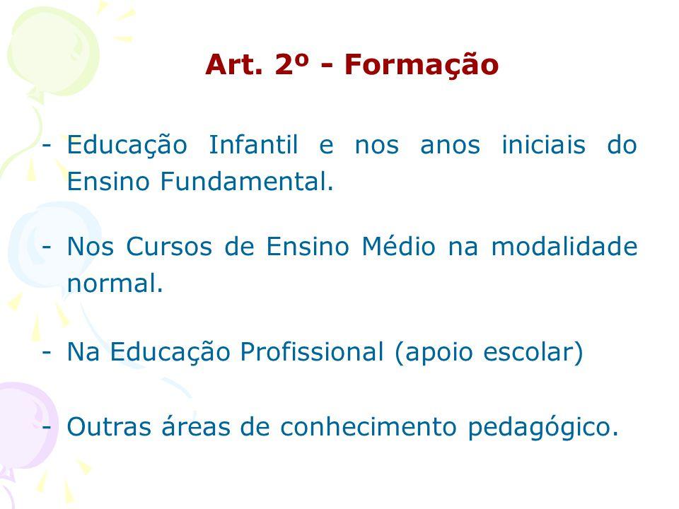 Art.2º - Formação -Educação Infantil e nos anos iniciais do Ensino Fundamental.