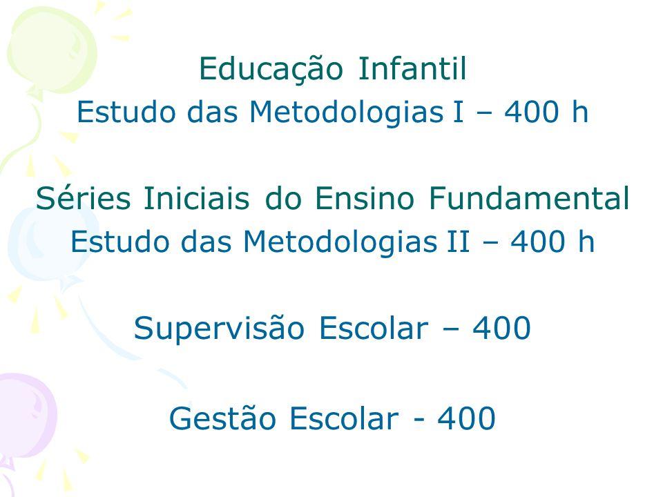 Educação Infantil Estudo das Metodologias I – 400 h Séries Iniciais do Ensino Fundamental Estudo das Metodologias II – 400 h Supervisão Escolar – 400 Gestão Escolar - 400