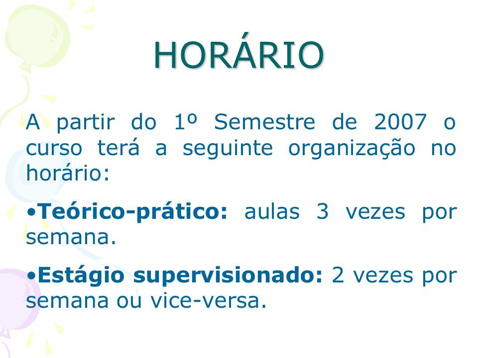 HORÁRIO A partir do 1º Semestre de 2007 o curso terá a seguinte organização no horário: Teórico-prático: aulas 3 vezes por semana.