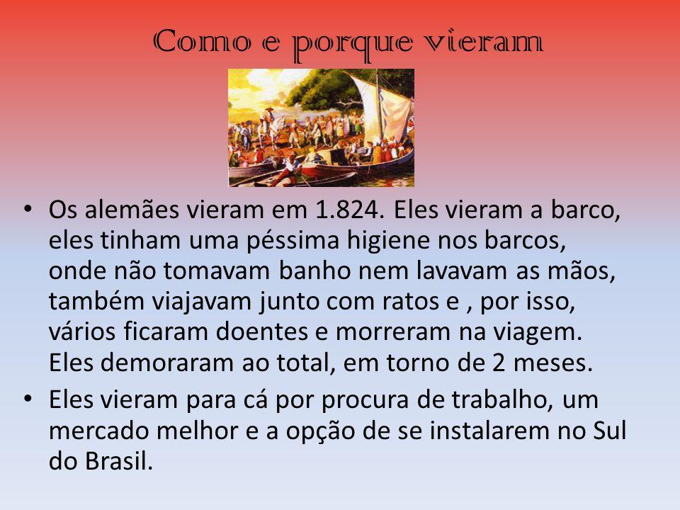 Onde se instalaram Eles se instalaram inicialmente nas cidades do Rio Grande do Sul, que agora se chamam de: São Leopoldo e Vale dos Sinos, que foram os pontos de entrada dos imigrantes alemães, que agora estão espalhados por todo o Rio Grande do Sul,que estão espalhados por todo o Brasil.