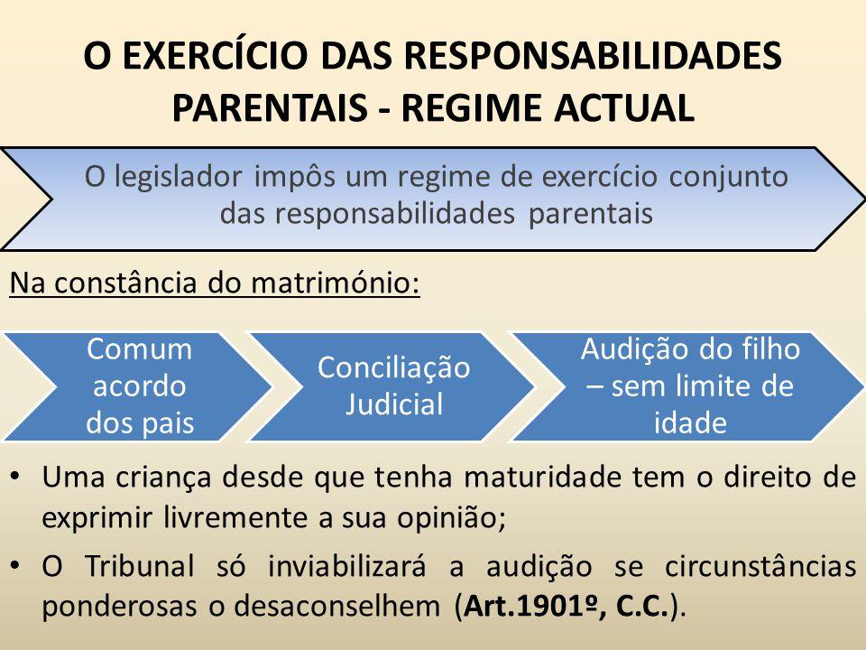 O EXERCÍCIO DAS RESPONSABILIDADES PARENTAIS - REGIME ACTUAL Na constância do matrimónio: Uma criança desde que tenha maturidade tem o direito de expri