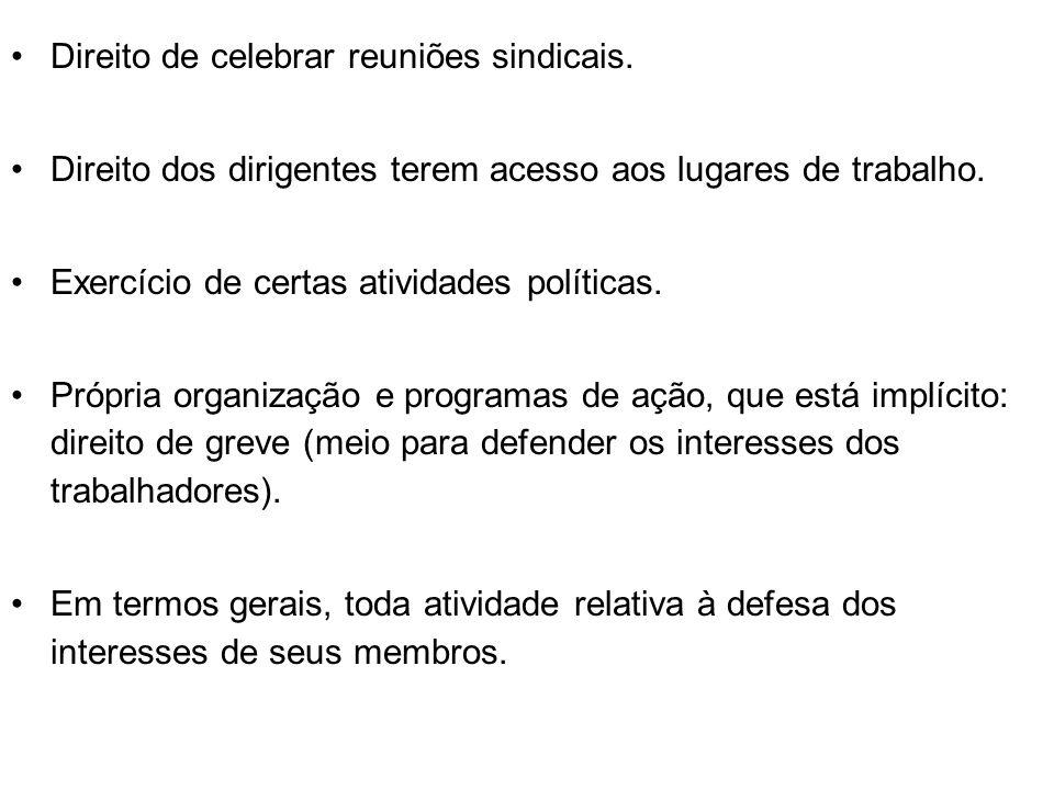 Direito de celebrar reuniões sindicais.