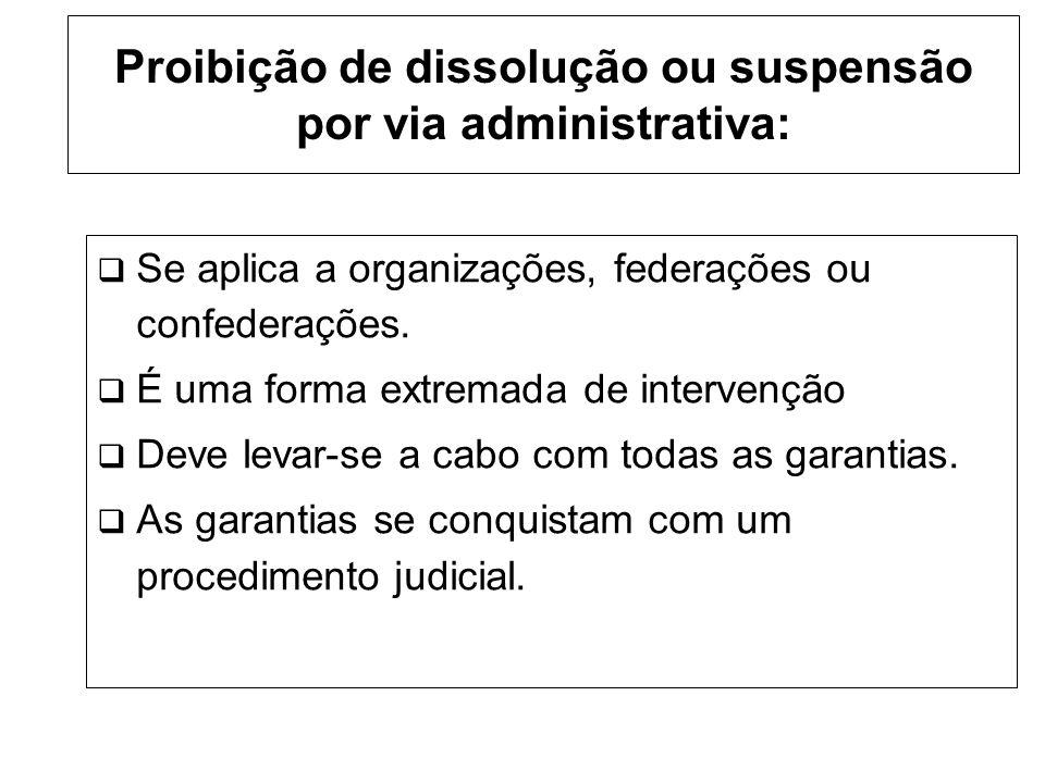 Proibição de dissolução ou suspensão por via administrativa: Se aplica a organizações, federações ou confederações.