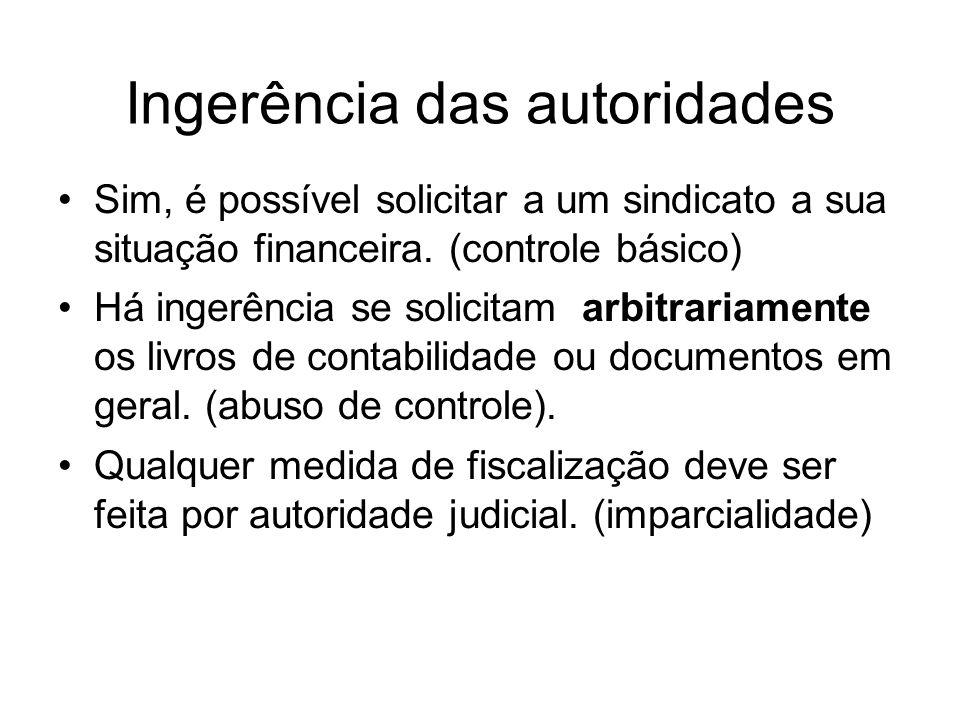 Ingerência das autoridades Sim, é possível solicitar a um sindicato a sua situação financeira.