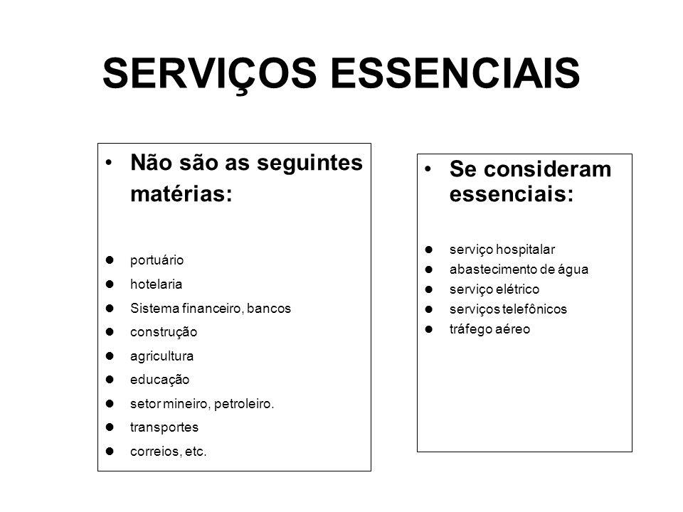 SERVIÇOS ESSENCIAIS Não são as seguintes matérias: portuário hotelaria Sistema financeiro, bancos construção agricultura educação setor mineiro, petroleiro.