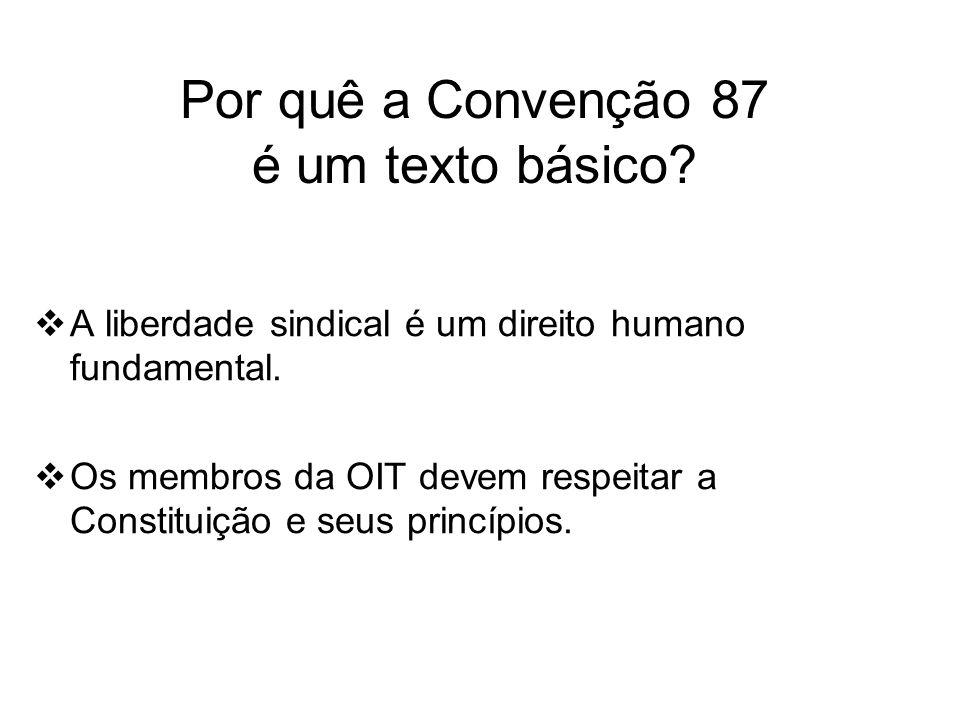 Por quê a Convenção 87 é um texto básico. A liberdade sindical é um direito humano fundamental.