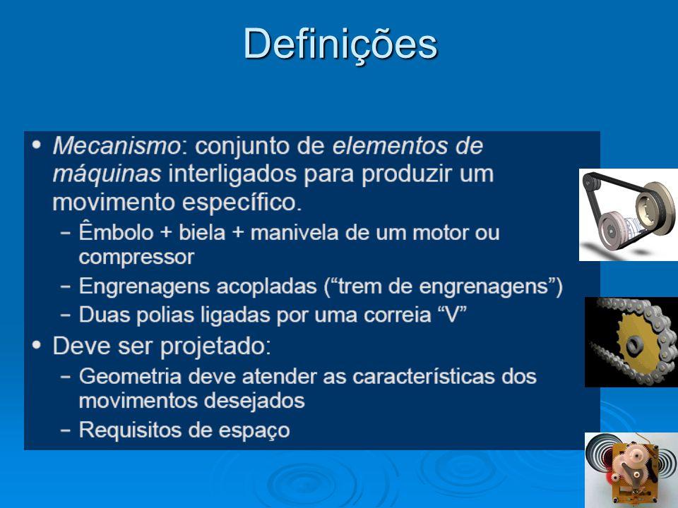 Denomina-se mecanismo a um conjunto de elementos rígidos, móveis uns relativamente a outros, unidos entre si mediante diferentes tipos de junções, chamadas pares cinemáticos (pernas, uniões de contato, passadores, etc.), cujo propósito é a transmissão de movimentos e forças.