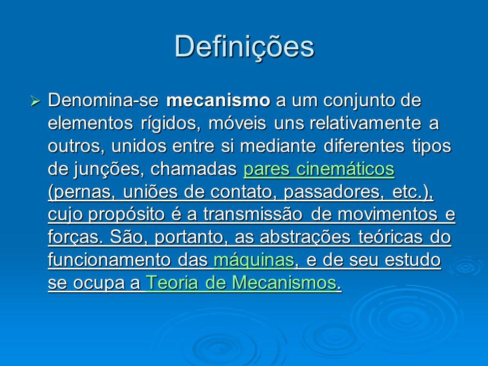 Mecanismo & Máquina Máquina: Máquina: Def.1: Conjunto de mecanismos destinados a transmitir força de uma fonte de potência contra contra uma resistência a ser superada.